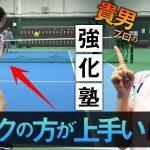テニスが好きすぎる女子アナのバックハンドを貴男プロがレッスン!