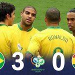 [懐かしハイライト]  ブラジル vs ガーナ 2006 W杯   ロナウジーニョ、ロナウド、カカ、アドリアーノ