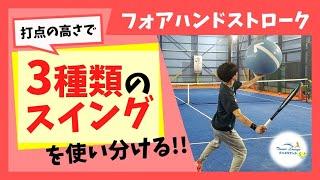 """【""""見て""""上達するテニス】フォアハンドストローク/打点の高さで""""3種類のスイング""""を使い分ける!!"""